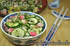 Para o #almoço uma Salada de Pepino Simples ou Sunomono! É rápida, leve, refrescante e com aquele saborzinho agridoce que eu adoro!  #Receita aqui: http://wp.me/p1D7Fs-3CN