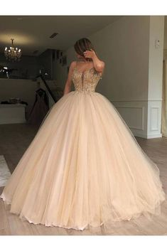 Sparkly Spaghetti Strap Beaded Ball Gown Prom Dress, Long Tulle Quinceanera Dresses Vestidos p Tulle Ball Gown, Ball Gowns Prom, Ball Gown Dresses, Prom Dresses, Formal Dresses, Elegant Dresses, Wedding Dresses, Sweet 16 Dresses, Pretty Dresses