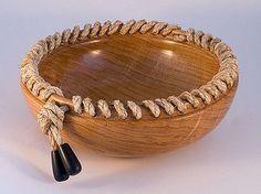 Oak bowl, sisal rope with ebony ends. Chestnut finishing oil, buffed 28cm diameter, 10cm deep