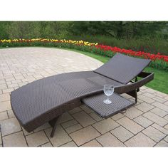 Oakland Living Corporation Merit Resin Wicker Foldable Chaise Lounge (Coffee), Brown, Patio Furniture
