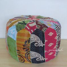 Small Vintage Indian Pouf Ottoman Patchwork Foot Stool Kantha pouf Cover Throw #Unbranded #Ethnic