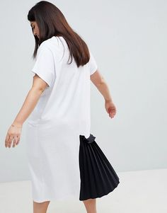 ASOS Curve | ASOS CURVE Midi T-Shirt Dress With Contrast Woven Pleated Detail