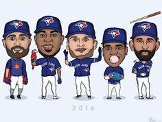 Kevin Pillar, Edwin Encarnacion, Josh Donaldson, Marcus Stroman, Jose Bautista. 2016 Toronto Blue Jays. MLB. Baseball.