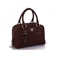 Replica Prada coffee deerskin Leather Boston tote bag BL0310  $216