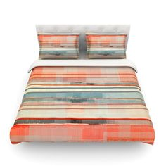 East Urban Home Patton by CarolLynn Tice Featherweight Duvet Cover Size: Full/Queen Down Comforter, King Comforter, Comforter Sets, King Cotton, Cotton Duvet, Orange Duvet Covers, Queen Bedding Sets, Duvet Cover Sizes, Black Bedding