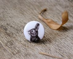 Animal ring Bunny Rabbit, silvertone, bunny rabbit jewelry, black and white, animal jewelry by AbraKadabraJewelry on Etsy