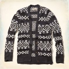 Hollister Knit Cardigan Dark grey knitted sweater with white pattern. Super comfy slightly oversized knit cardigan. Three buttons. Size medium. Never worn NWT Hollister Sweaters Cardigans