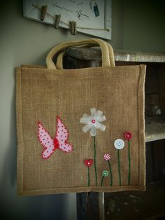 Biodegradeable Jute Bag medium size shopping bag, carry bag with button & ribbon flower and butterfly design by allthosethingswelove on Etsy