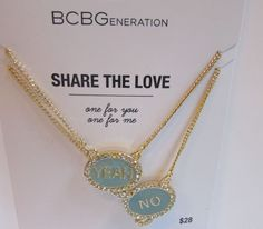 BCBG Share The Love 2 Necklaces One for You & One for Me NWD Yeah or No #BCBG #Charm