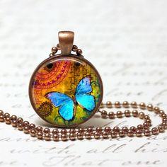 Korte ketting - Halsketting blauwe vlinder pendant - Een uniek product van MadamebutterflyMeagan op DaWanda