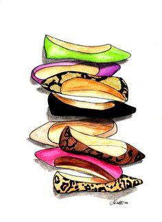 Fashion Flats  Free Shipping by IllustrationsbyShan on Etsy, $25.00