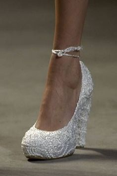 platform wedge white pearl bling lace wedding shoes
