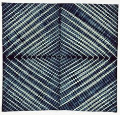 Detail of indigo resist dyed cotton, Ibadan, Nigeria 1960s. An example of adire oniko, this cloth was considered 'cloth of the year' in 1964 due to its popularity.