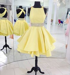 cross back party dress,yellow beading dress,cute party dress,homecoming dress