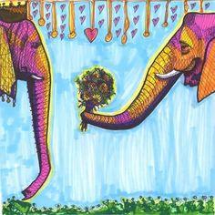 Art Print Elephants By Solveig Studio 18x18in