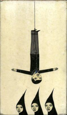 'Hanging Man Above Sisters' by American artist Richard Colman (b via anno domini Photo Illustration, Graphic Illustration, Illustration Editorial, Anno Domini, The Hanged Man, Dragon Art, Heart Art, New Art, Poster Prints
