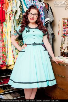 Pinup Couture- Dee Dee Dress in Mint and Black Pin Dots | Pinup Girl Clothing