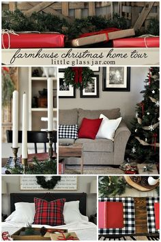 A cozy Farmhouse Christmas Home Tour to enjoy for the holidays! #Christmas #HomeTour http://www.littleglassjar.com