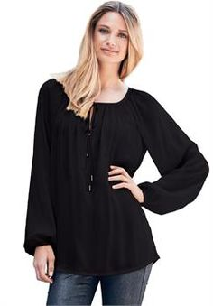 eefb97fee25 Plus Size Peasant blouse tunic with shirred neck and front tie Everyday  Goth
