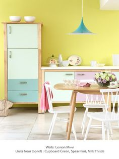 Holy crap--someone decided to paint Ikea Varde with Little Greene paint (my favorite! Little Greene Paint Company, Home Design, Home Interior Design, Interior Modern, Design Ideas, Pastel Interior, Yellow Interior, Salon Design, Interior Decorating
