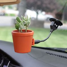 flower pot for your car... this would be so much prettier than the gps/phone thing currently attached to my window... but how else could i make my ipod easily available?