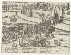 Spanishe Fury Maastricht 1577/English: Spanish soldiers leaving Maastricht Netherlands 27 april 1577 Nederlands: Spaanse soldaten verlaten Maastricht, 27 april 1577 Date 	between 1613 and 1615 Source 	Rijksmuseum Amsterdam Author 	Hogenberg, Frans