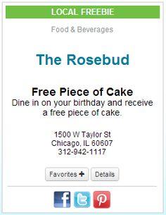 Yahoo A free piece of cake on your birthday LA Freebies