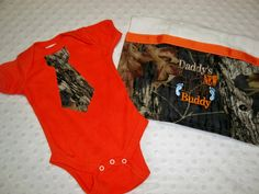 Orange Bodysuit with Camo Tie And Daddy's New Hunting Buddy Camo Burp Cloth - Orange and Camo Bodysuit - Camo Baby Boy Tie Bodysuit Gift Set Baby Boy Camo, Camo Baby Stuff, Camo Tie, Boys Ties, Burp Cloths, Future Baby, Daddy, Trending Outfits