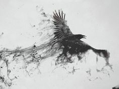 1600x1200 Wallpaper raven, bird, flying, smoke, black white