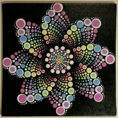 Pastel dot mandala on black canvas-artist unknown Dot Art Painting, Mandala Painting, Painting Patterns, Stone Painting, Mandala Stencils, Painting Tools, Mandala Painted Rocks, Mandala Rocks, Mandala Pattern