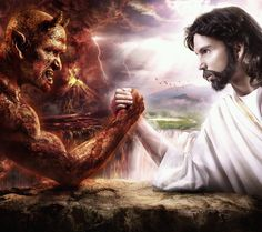 Fight between God and Devil