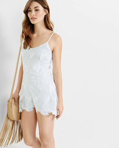 Floral Lace Tie Back Romper | Express
