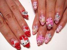 Hello Kitty My Melody 3D Japanese gel nails