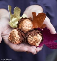 Metallic copper crepe paper acorns by Lia Griffith