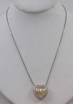 14KT YELLOW GOLD & STERLING SILVER PUFFY HEART PENDANT & NECKLACE #Pendant