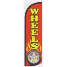 Wheels tire shop business windless swooper feather sign banner flag 16ft tall