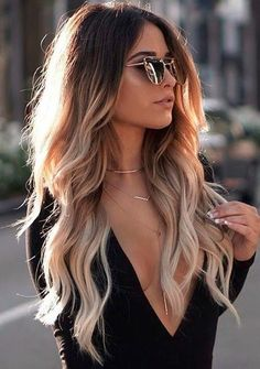 33 New ideas hair color highlights blonde ombre balayage Ombré Hair, Curls Hair, Loose Curls, Mom Hair, Wave Hair, Hair Cut, Fall Hair Colors, Hot Hair Colors, Blonde Hair Colours 2018