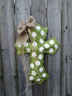 Burlap Cross Burlap Door Hanger Apple Tart Green by nursejeanneg, $28.00