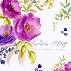 Flores acuarela imágenes prediseñadas - follaje fucsia