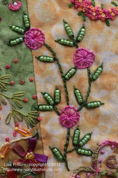 how to do crazy patchwork Embroidery Stitches Tutorial, Crewel Embroidery, Hand Embroidery Patterns, Beaded Embroidery, Cross Stitch Embroidery, Quilt Patterns, Block Patterns, Embroidery Kits, Crazy Quilt Stitches