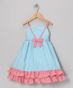 Take a look at this Blue Red Gingham Ruffle Dress - Infant, Toddler Girls by Gidget Loves Milo on #zulily today!