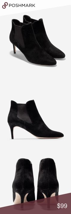 Cole Haan Black Suede Ankle Booties So cute and perfect dressed up or down! Excellent pre owned condition, only worn once. Marks to bottoms. No trades!! Cole Haan Shoes Ankle Boots & Booties