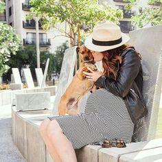 Pup + bump love from krystamasciale! #preggonista #maternitystyle #maternityfashion #babybump
