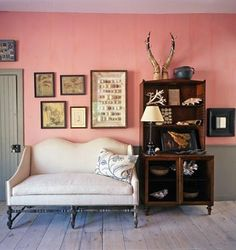 Pink walls and grey woodwork