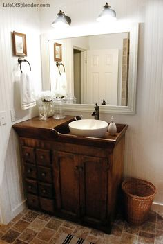 Antique wash stand turned into vanity with vessel sink... I LOVE THIS!!!