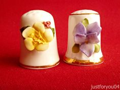 Royale Stratford - Hand crafted Viola Collectors Thimble. And 1 Primrose Thimble