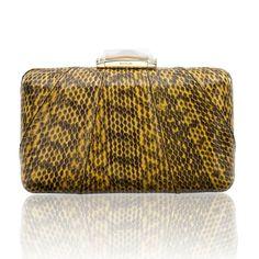 Espey Snakeskin Yellow Minaudiere with Dark Markings. Elaphe Bag. KOTUR #yellowbag #eveningbag #snakeskinbag #elaphe #summerbag #yellowclutch #SS15 #spring15