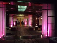 Lighting and drapery were used throughout this entrance to a special event. Like it? Email info@kumba.com
