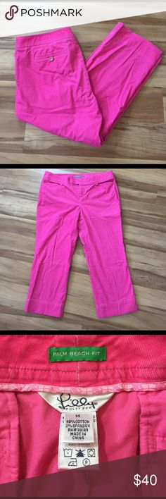 Lilly Pulitzer Palm Beach Fit crop pants Excellent condition, no holes, stains or tears. Size 14 these are absolutely adorable. Perfect for spring! While lying flat the waist measures 18 inches across they have a 24 inch inseam. These are a very light weight Corduroy feel Lilly Pulitzer Pants Ankle & Cropped