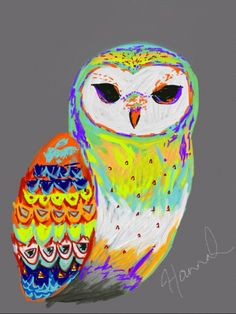 Owl art. Sketched on iPad. #owl #hoot #art #artwork #ipad #sketch #drawing #colourful #painting #hipster #retro #outofthisworld #different #alternative